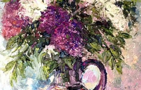 Сирень в кувшине  — Лигай Н.В., бумага, акварель, размер 50/70, 2007 г., Цена 70000