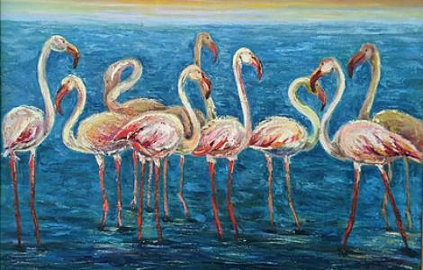 «Фламинго» -Лигай Н.В.,х.м., размер 60/90, 2011 г., Цена — 100000 тнг.