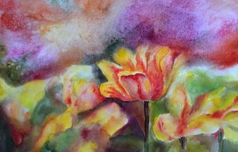 «Тюльпаны 1 » — ЛигайН.В.,бумага, акварель, размер 60/80, 2014 г., Цена — 100000 тнг.