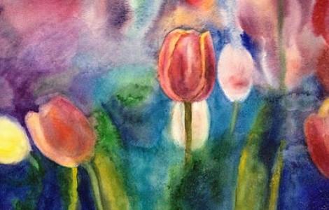 «Тюльпаны 2» — ЛигайН.В.,Бумага , акварель, размер 60/80, 2014 г., Цена — 100000 тнг.