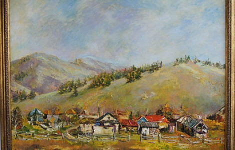 «Аул в горах» — Лигай Н.В.,х.м., размер 80/100, 2014 г.,Цена — 200000 тнг.