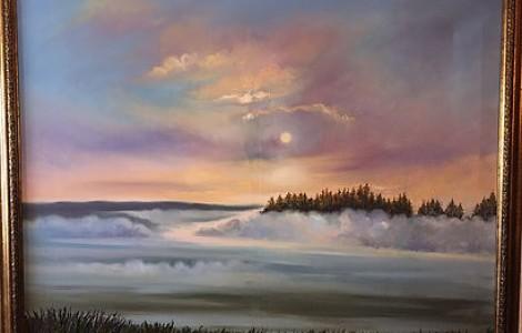 «Туман над рекой» — Лигай Н.В., х.м., размер 80/100, 2014 г., Цена — 200000 тнг.
