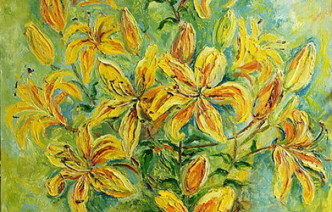 «Желтые лилии» — х.м., размер 90/80, 2014 г., Цена — 140000 тнг.