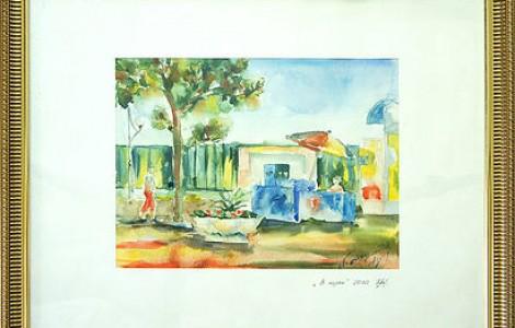 «В парке » — Лигай Н.В.,  бумага, акварель, размер 37/48,2010 г., Цена -10000тнг.